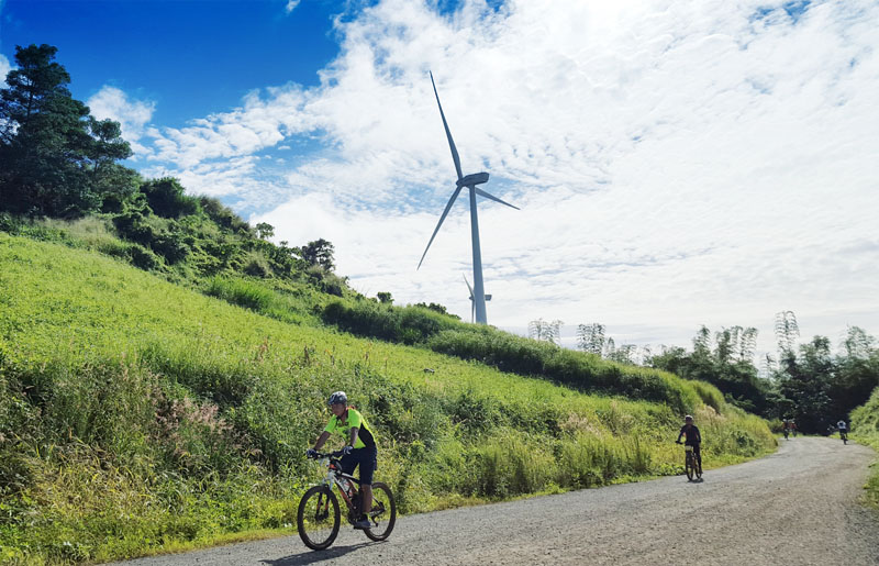 There's something really cool about biking in the hills under Pililla's massive wind turbines