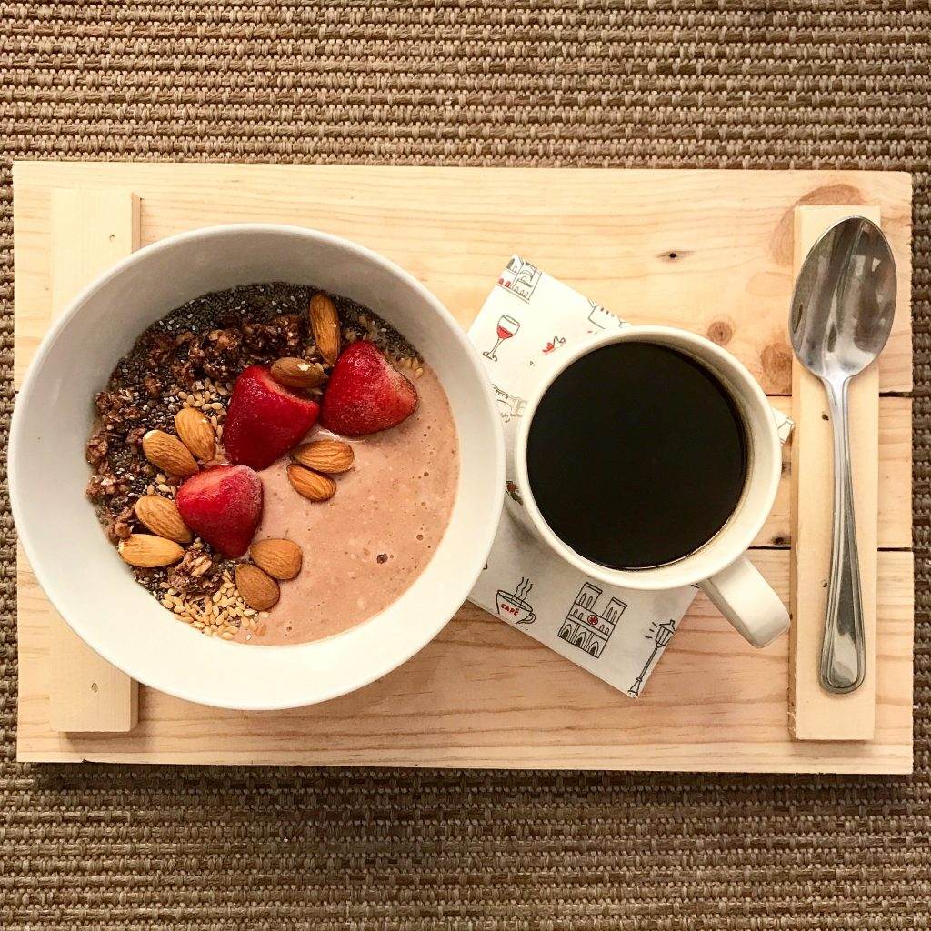Top off your smoothie bowl with chia seeds, flax seeds, sunflower seeds, granola, nuts, coconut flakes