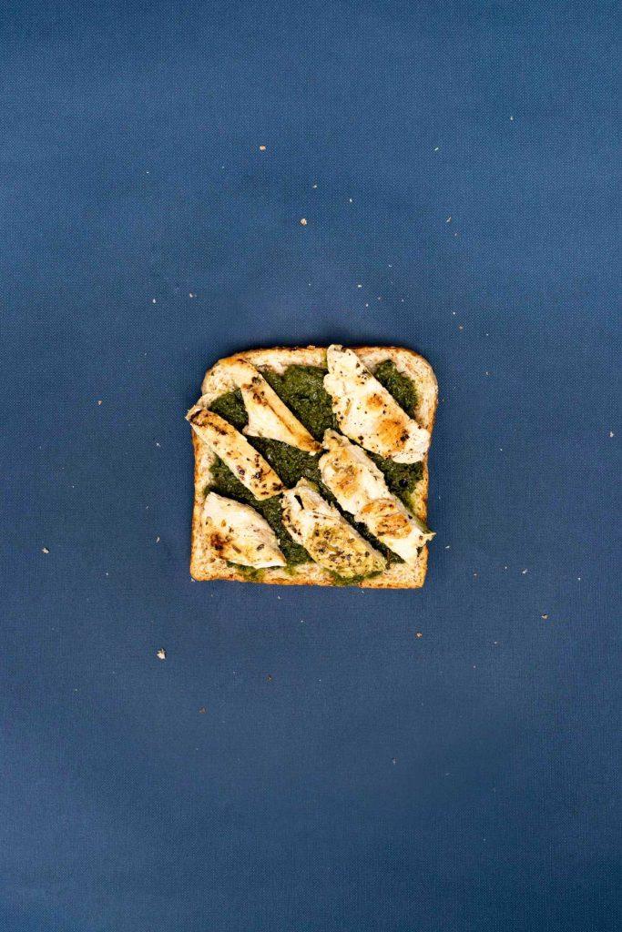 Chicken pesto toast