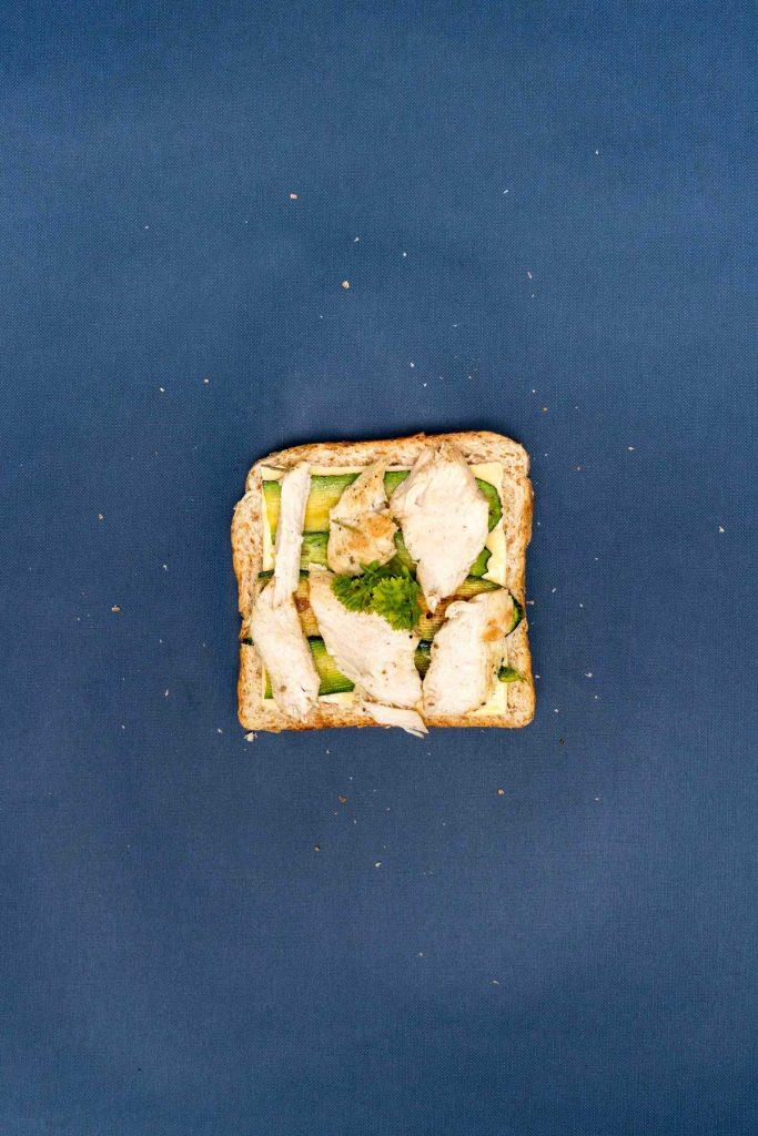 Chicken, zucchini, and cheese toast