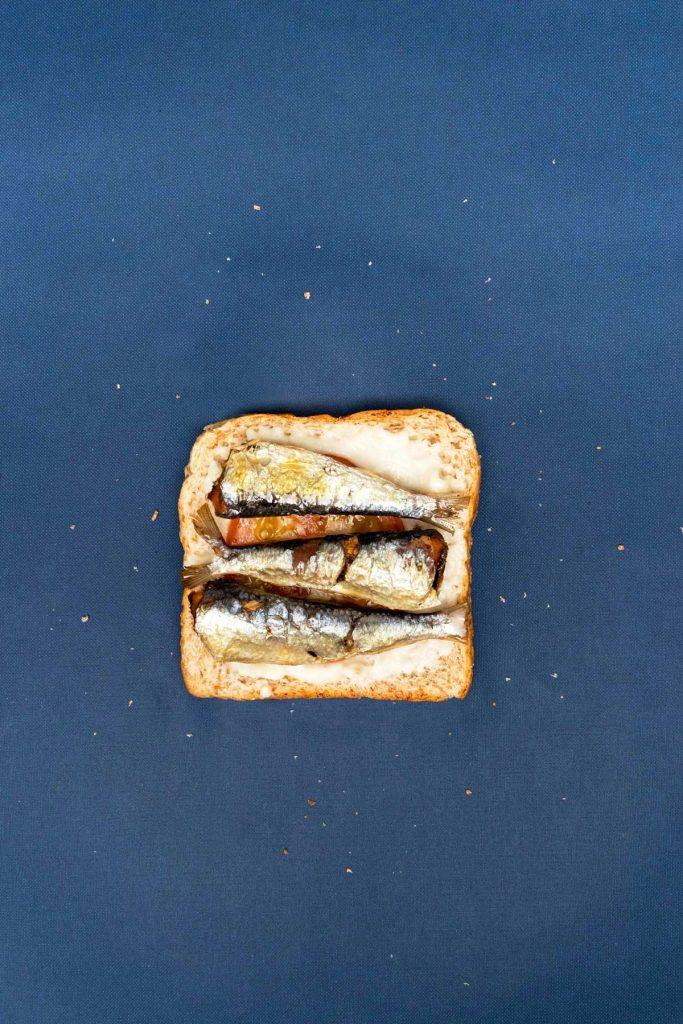 Sardines, tomato, and aioli toast