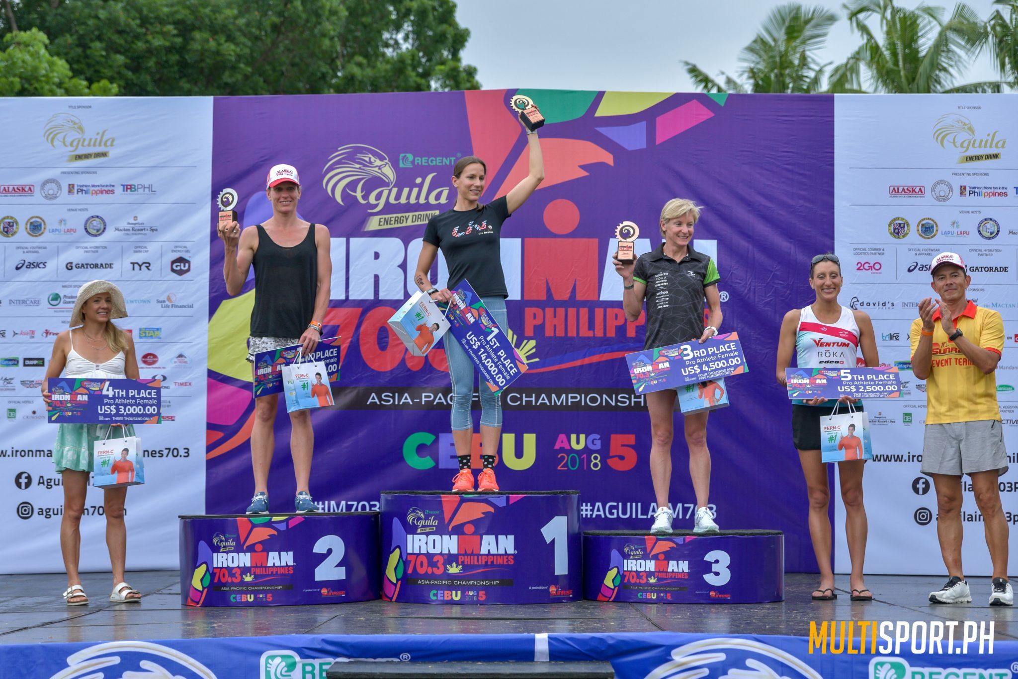 Radka Kahlefeldt sharing the podium with Caroline Steffen (second) and Melissa Hauschildt (third)
