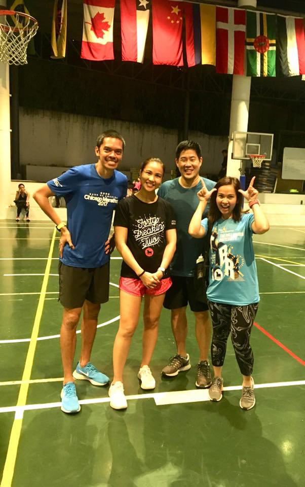Author JV Wong with Jaymie Pizarro and their run coaches