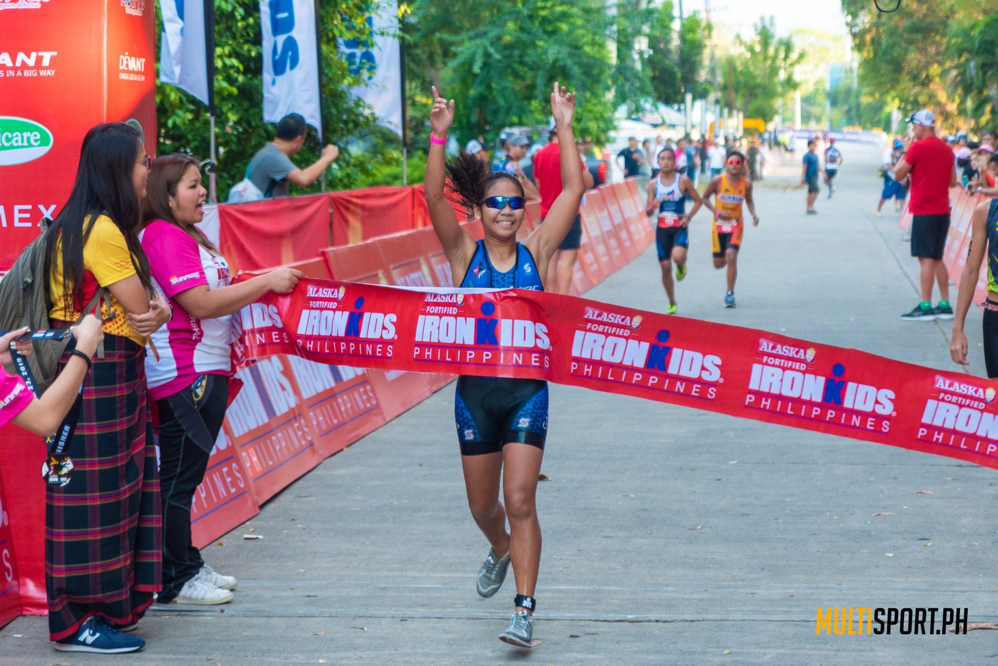 Marielle Estreba of the Cebu City Rider Omega Triathlon finished first in the female Alaska IronKids division