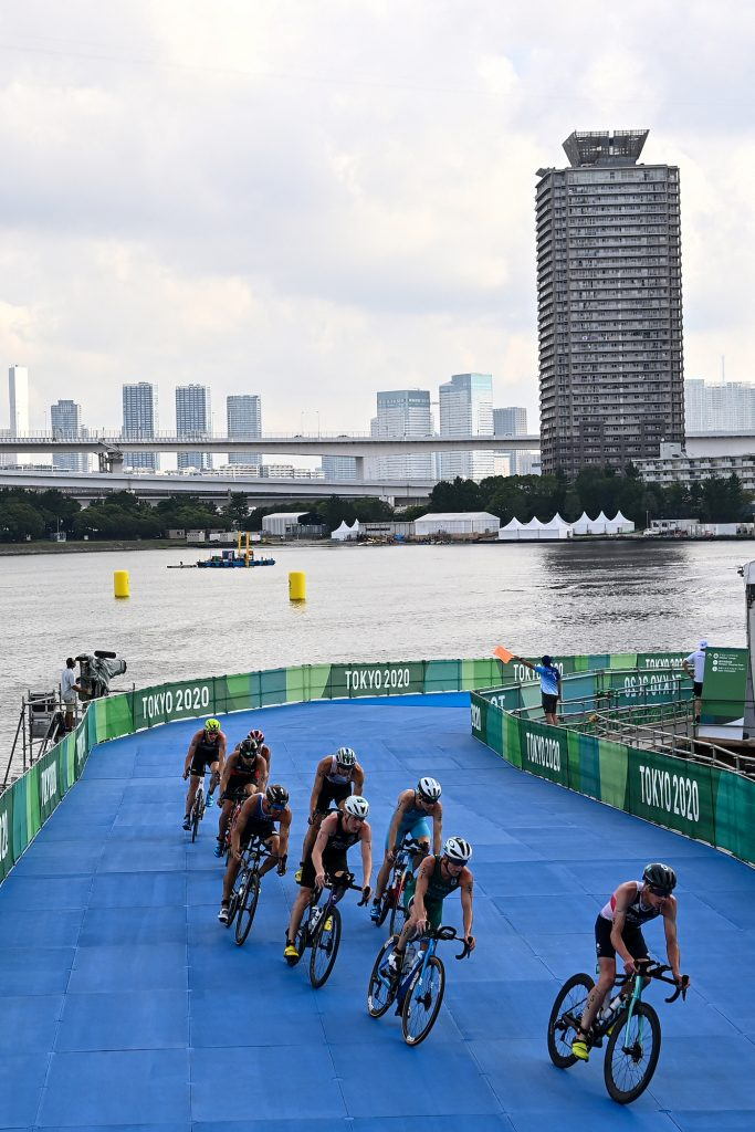 Athletes compete in the men's individual triathlon competition during the Tokyo 2020 Olympic Games