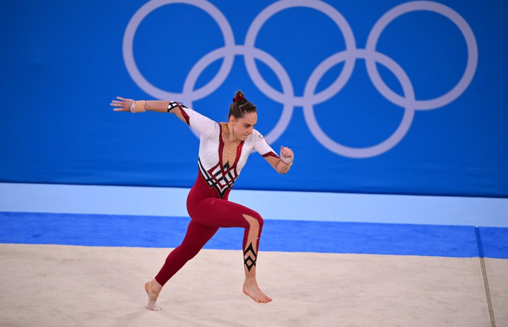 German gymnast Sarah Voss in action during the floor exercise