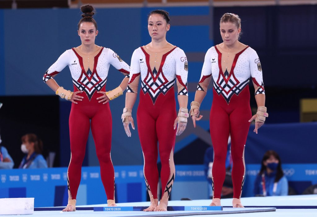 German gymnasts Kim Bui, Pauline Schaefer, and Elisabeth Seitz of Germany making a stand against sexualization in gymnastics