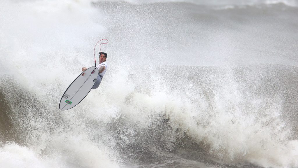 Surfing coverage at the Olympics: Gabriel Medina of Brazil in action during Heat 2