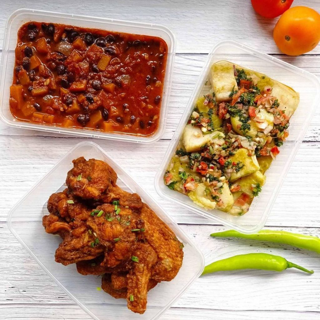 Fitness Gourmet PH's chicken peri peri and baked fish in pebre sauce with pumpkin and black bean stew on the side
