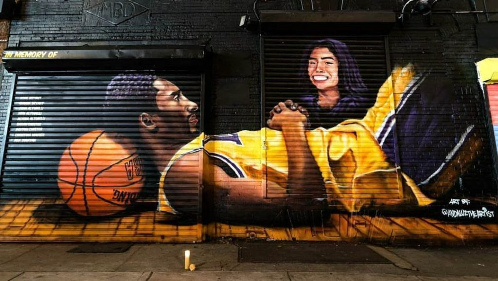 In Brooklyn, specifically the Barclays Center, a mural for Kobe was made by a local artist Efren Andaluz