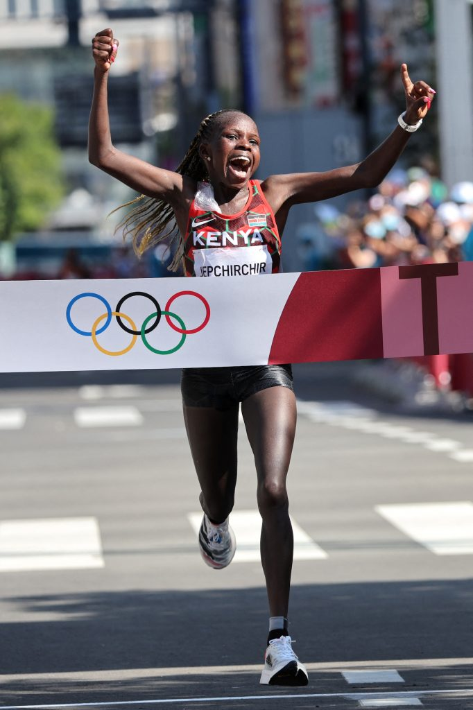 Kenya's Peres Jepchirchir wins the women's marathon final during the Tokyo 2020 Olympic Games in Sapporo