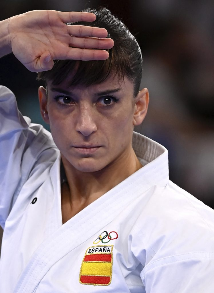 Spain's Sandra Sánchez Jaime performs in the women's kata final bout of the karate competition