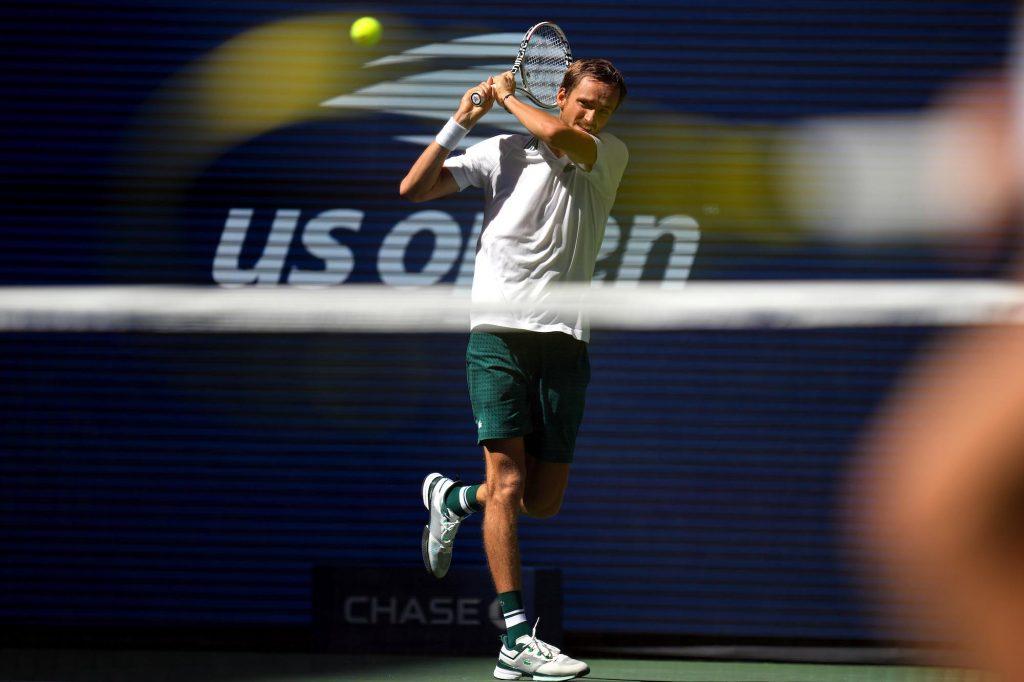 Daniil Medvedev of Russia hits to Botic van de Zandschulp of the Netherlands on day nine of the 2021 US Open