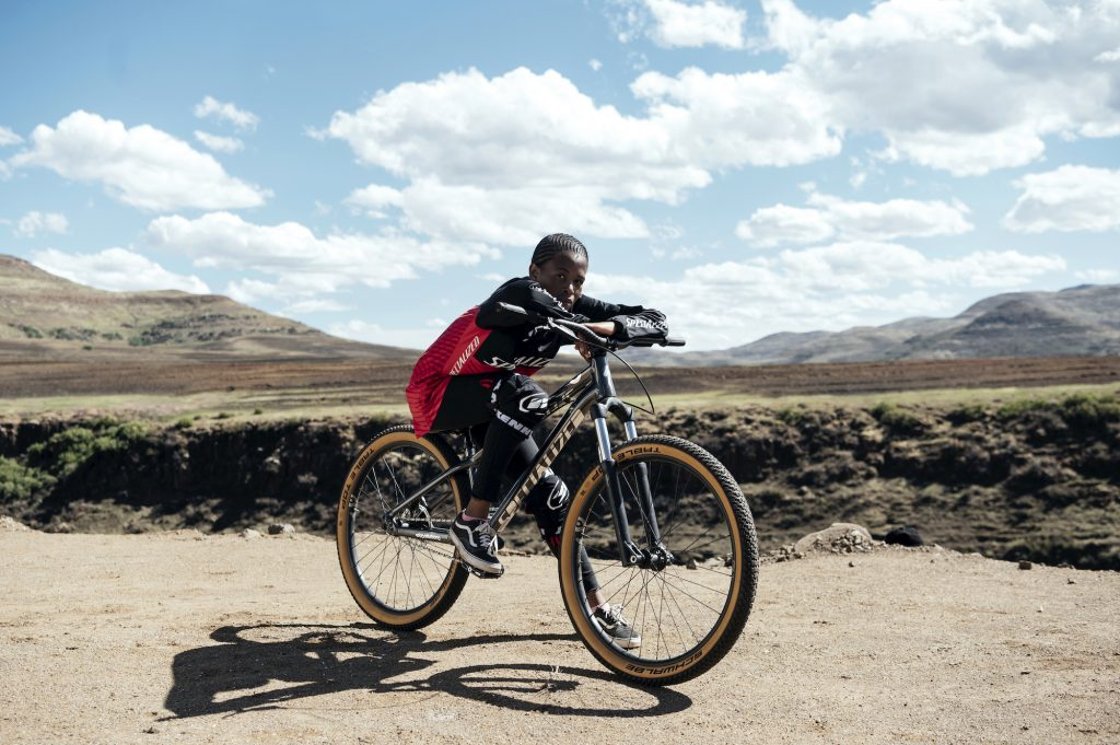 As Khothalang Leuta doesn't own a bike, she has to walk to the track and borrow the club bikes to practice