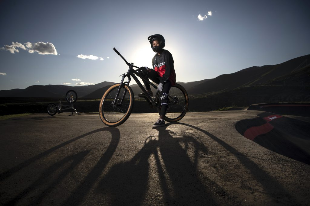 It's not typical to see women riding bikes in Lesotho, but after a pump track was built in Khothalang Leuta's village in 2017, a dream was born