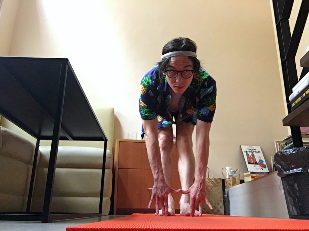 On times when outdoor runs aren't allowed, author Jaymes Shrimski incorporates regular HIIT workouts and stretching into his daily routine